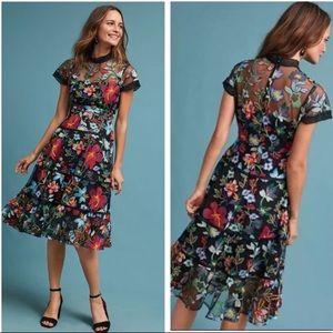 Anthropologie Embroidered Floral Vone Midi Dress